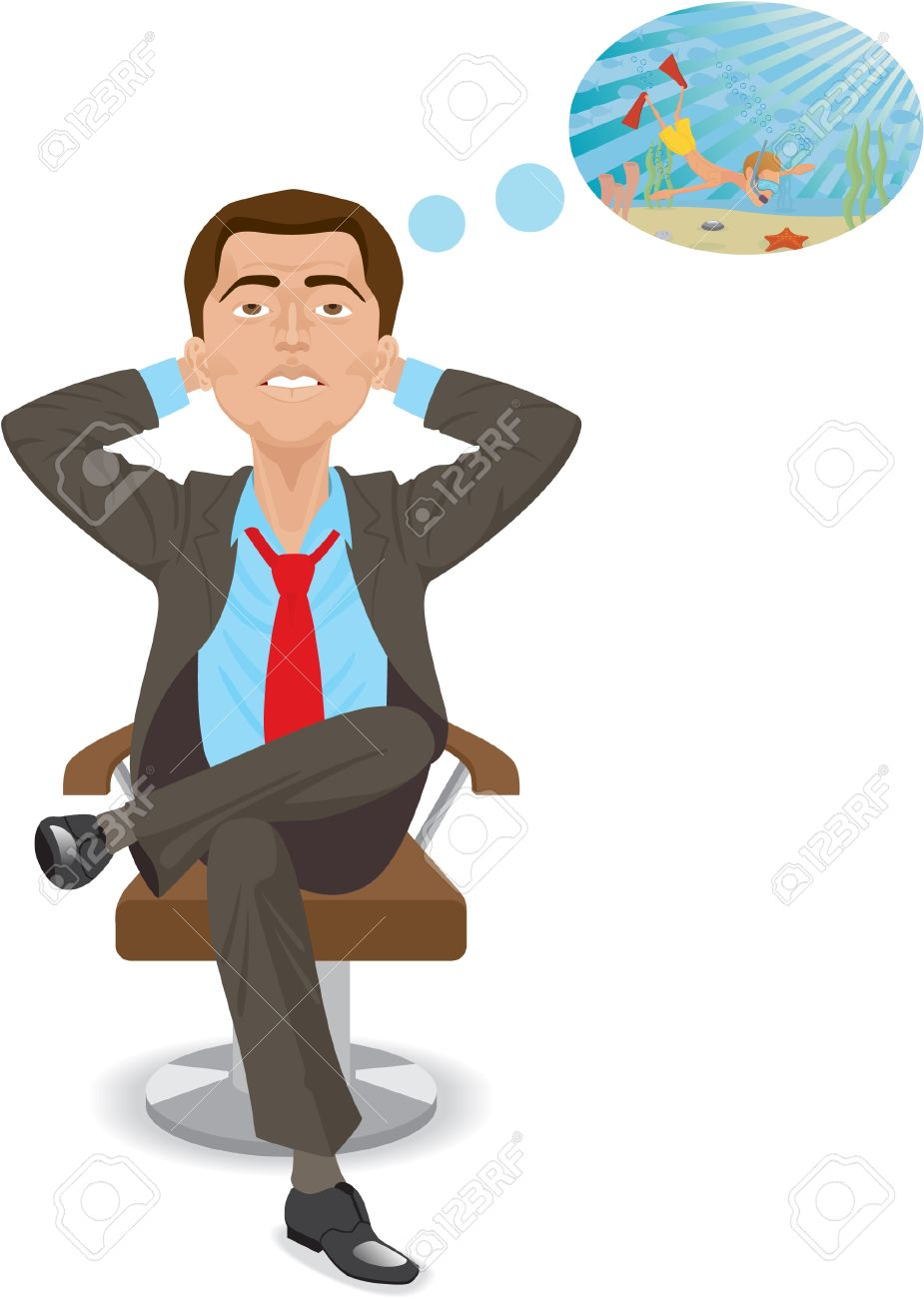 Man is dreamming about vacation. Isolated on white Stock Vector - 8908844