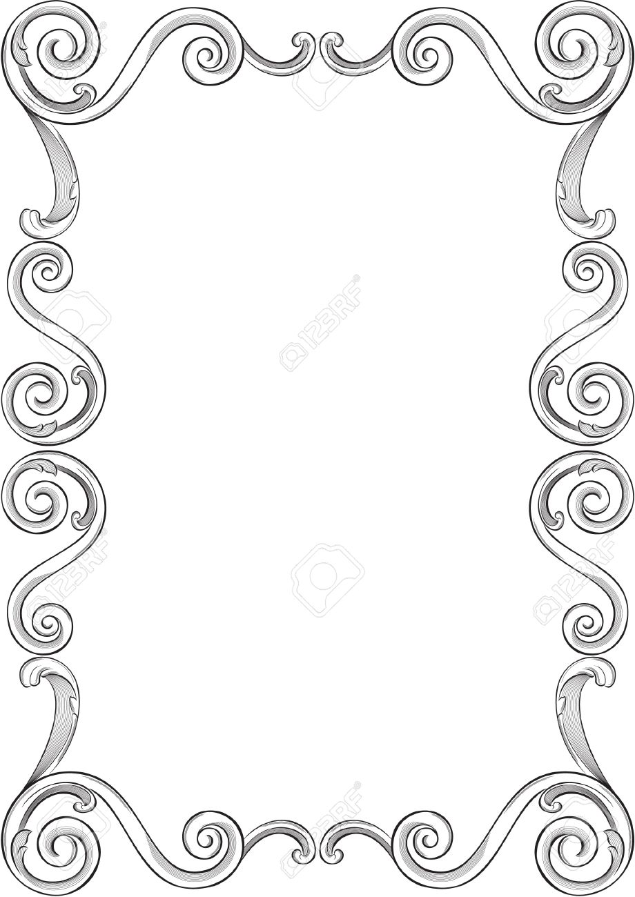 Engraving Pattern Of Nice Frame Royalty Free Cliparts, Vectors, And ...