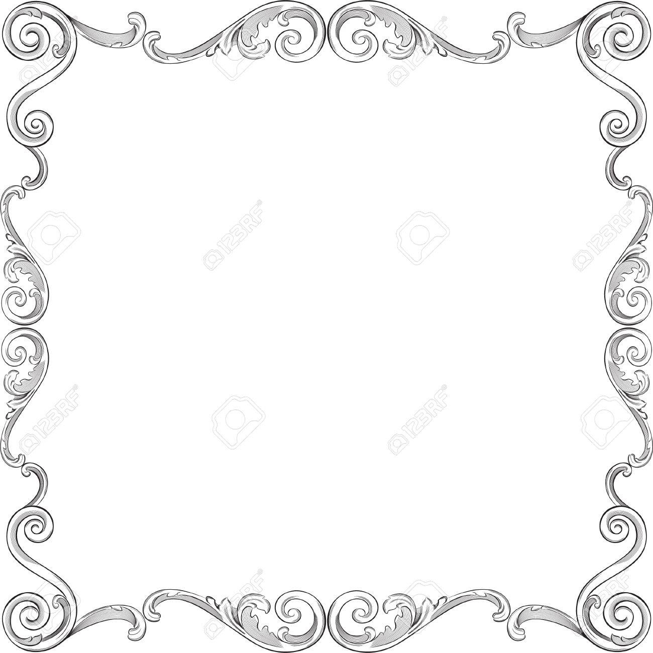 engraving pattern of nice frame stock vector 11998290