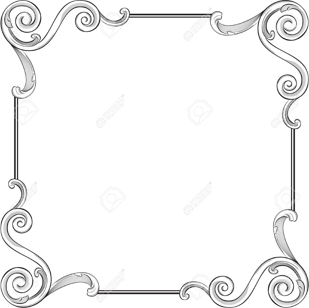 engraving pattern of nice frame stock vector 11998227