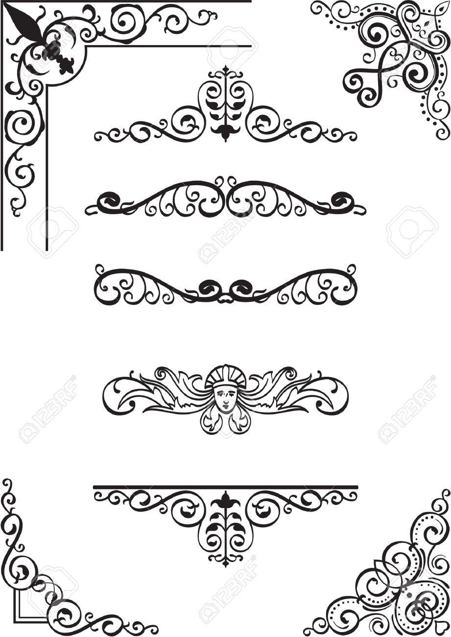Swirl corner and divide set on white Stock Vector - 14335767
