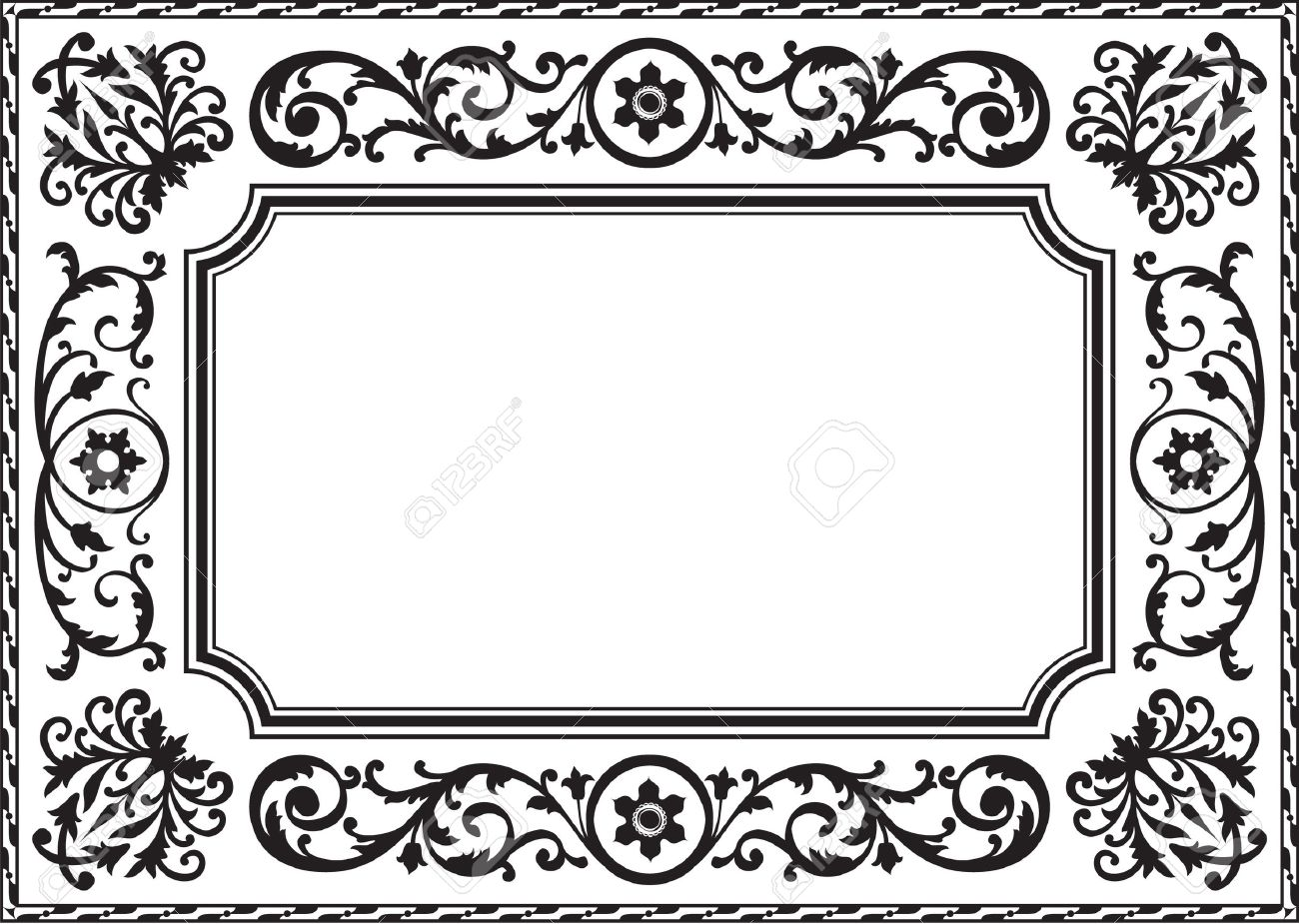 Baroque Frame Black And White Royalty Free Cliparts, Vectors, And ...