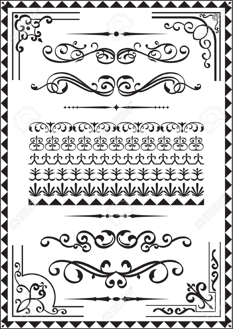 Elements for any borders on white Stock Vector - 14335773