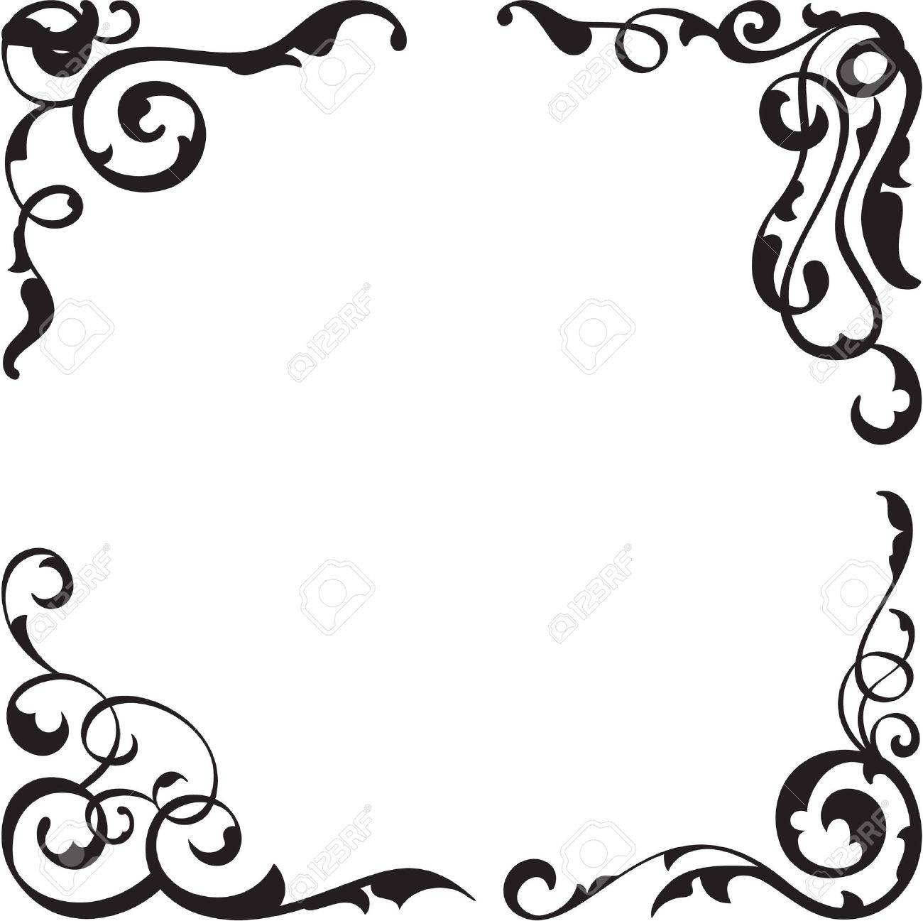Floral corners set isolated on white Stock Vector - 19862456