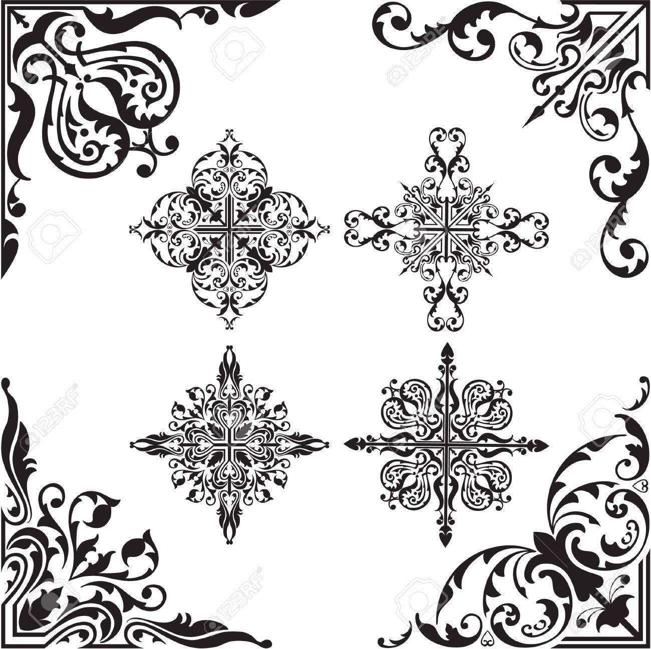 Baroque set of corners Stock Vector - 20325179