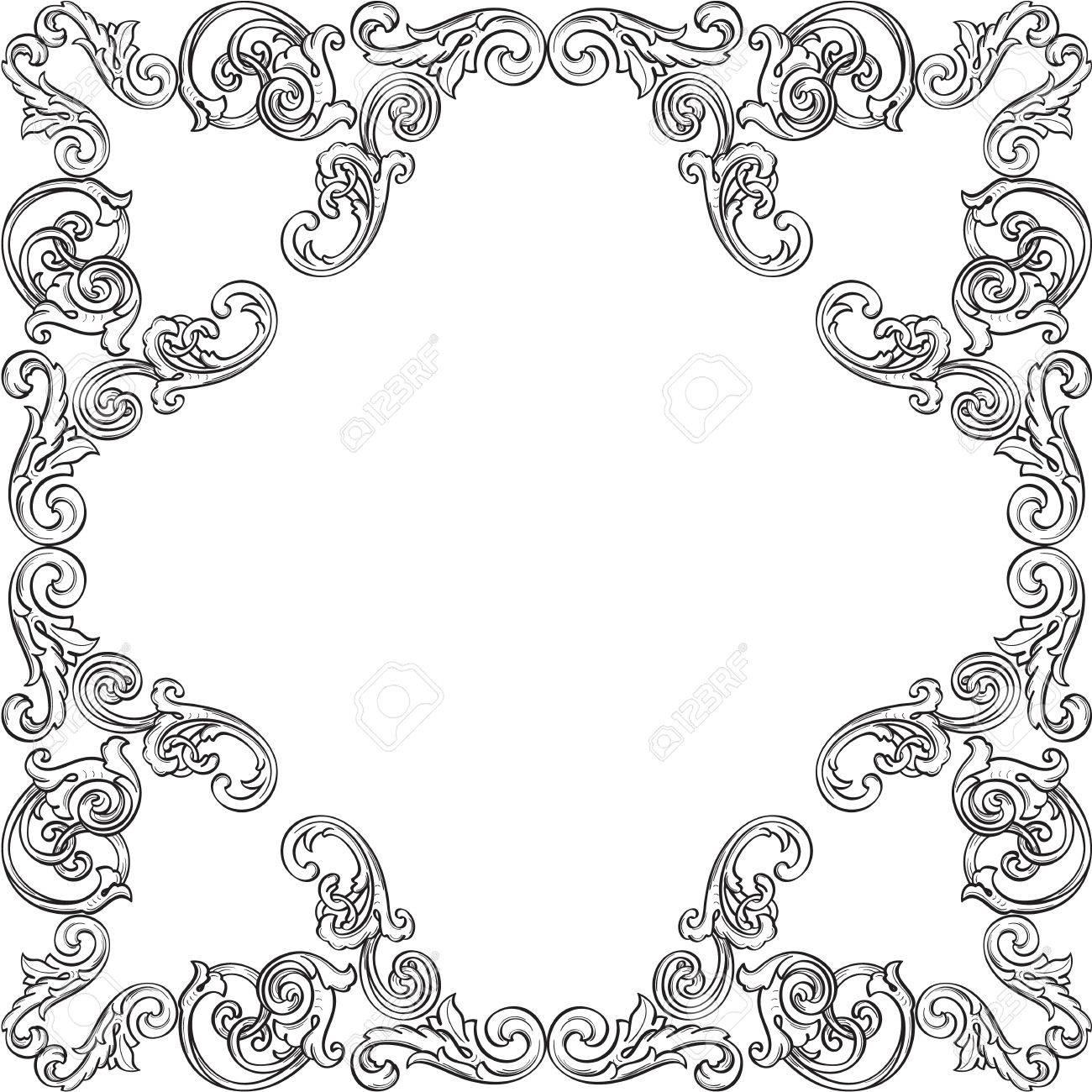 Retro Viktorianischen Rahmen Isoliert Auf Weiß Lizenzfrei Nutzbare ...