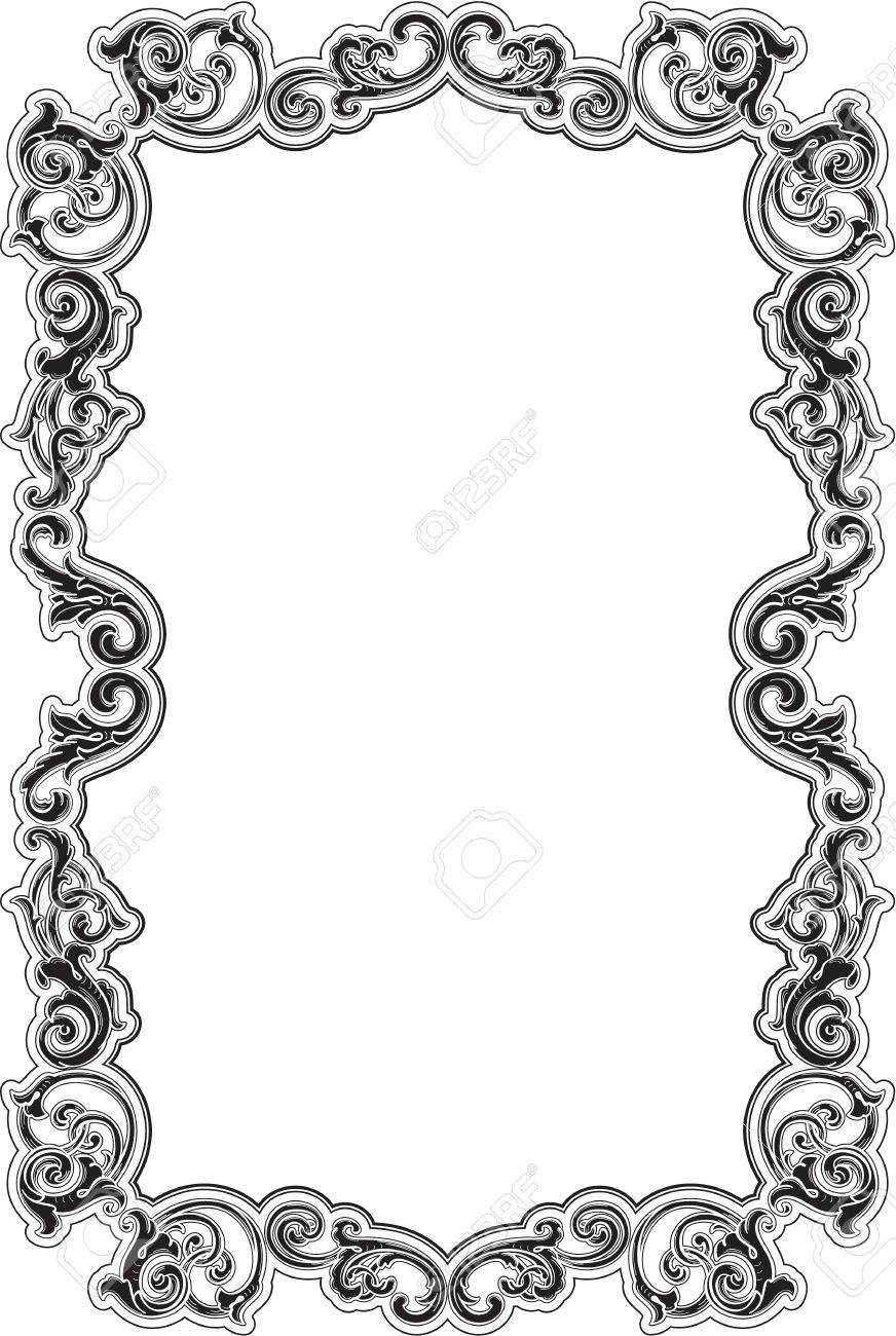 Black Baroque Acanthus Frame On White Stock Photo, Picture And ...