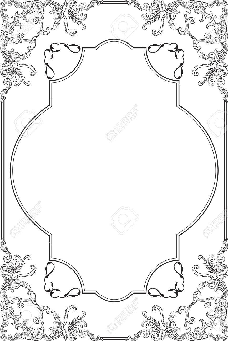 Die Barocke Kunst Verzierten Rahmen Auf Weißem Lizenzfrei Nutzbare ...