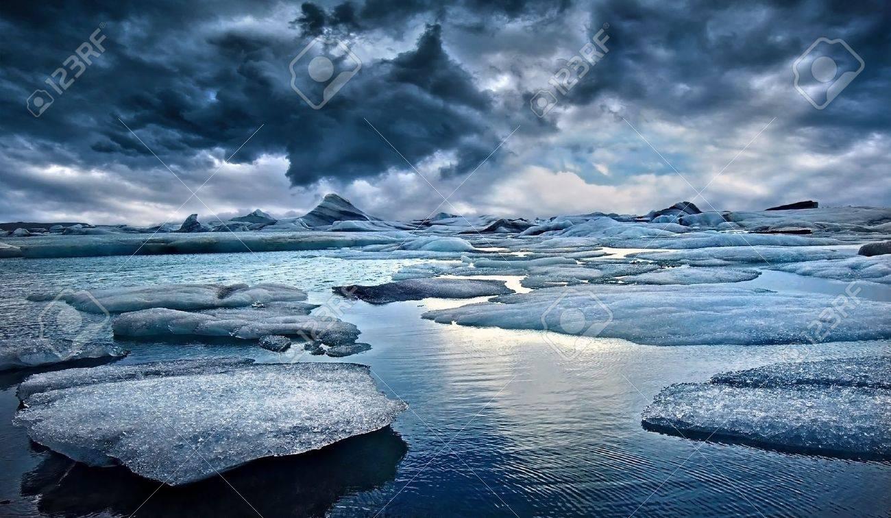 Icebergs at Jokulsarlon Glacial Lagoon in Iceland - 17698315
