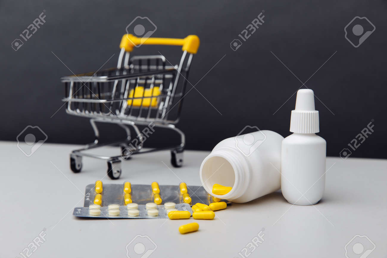 Shopping cart with compounded prescription medications shipped from a mail order pharmacy - 169819166