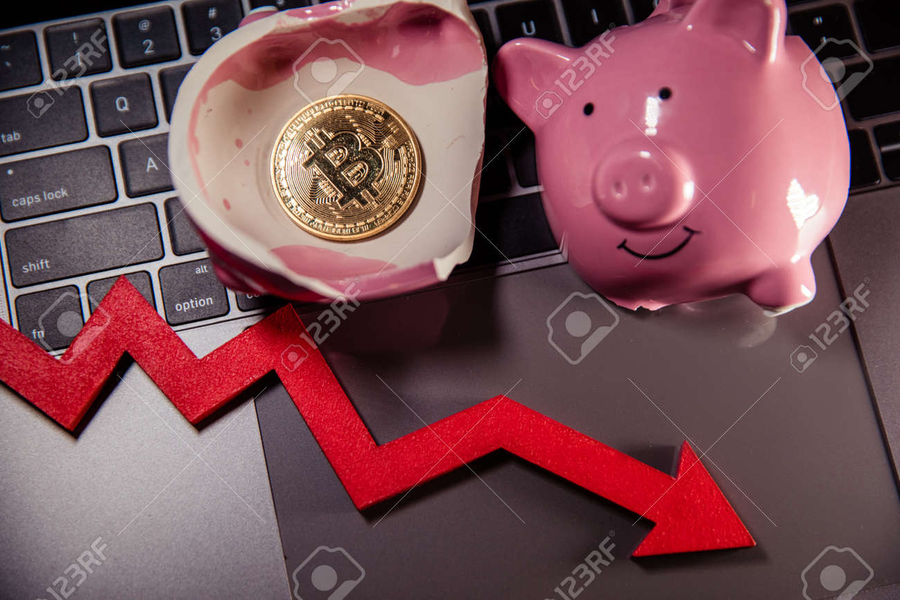 Bitcoin, broken piggy bank and arrow down on laptop. Cryptocurrency. The fall in the value of bitcoin - 169819596