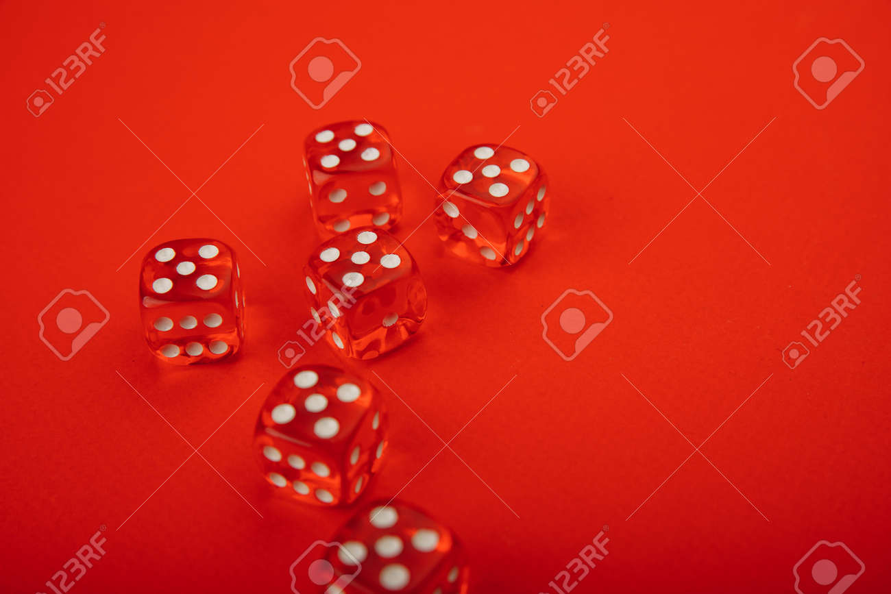 Six red dices with white spots - 169819657