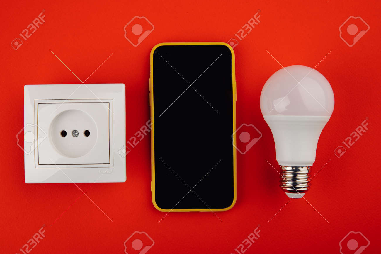 Smart house, home automation, device with bulb and socket - 169819658
