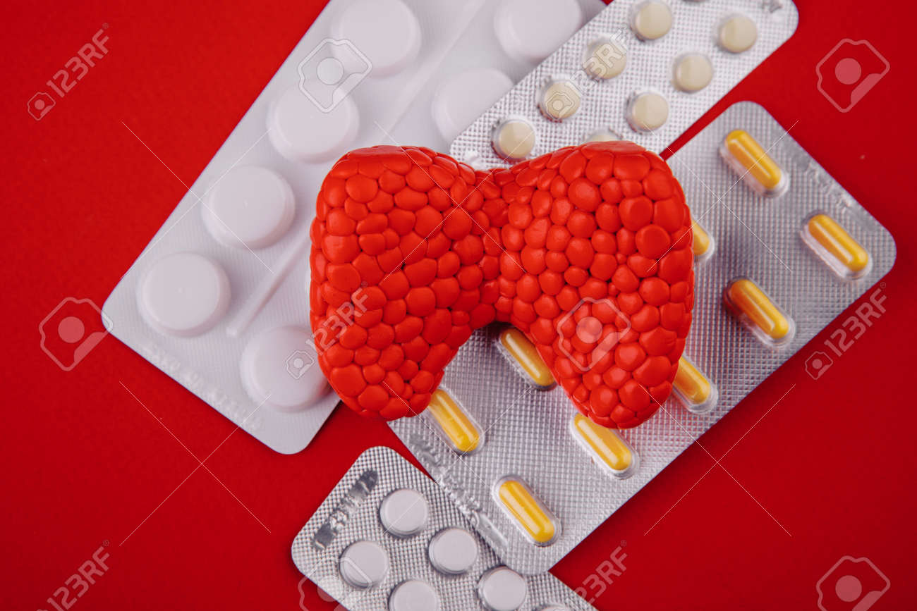 Plastic model of healthy thyroid and pills on red background close-up. Top view - 169819668