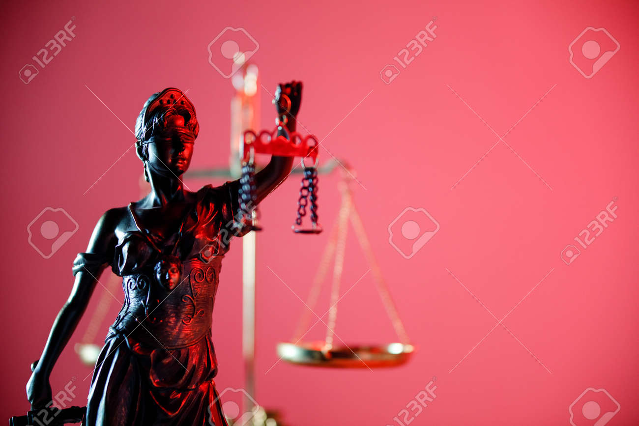 Statue of Lady Justice in notary office. Symbol of justice and law - 169820258