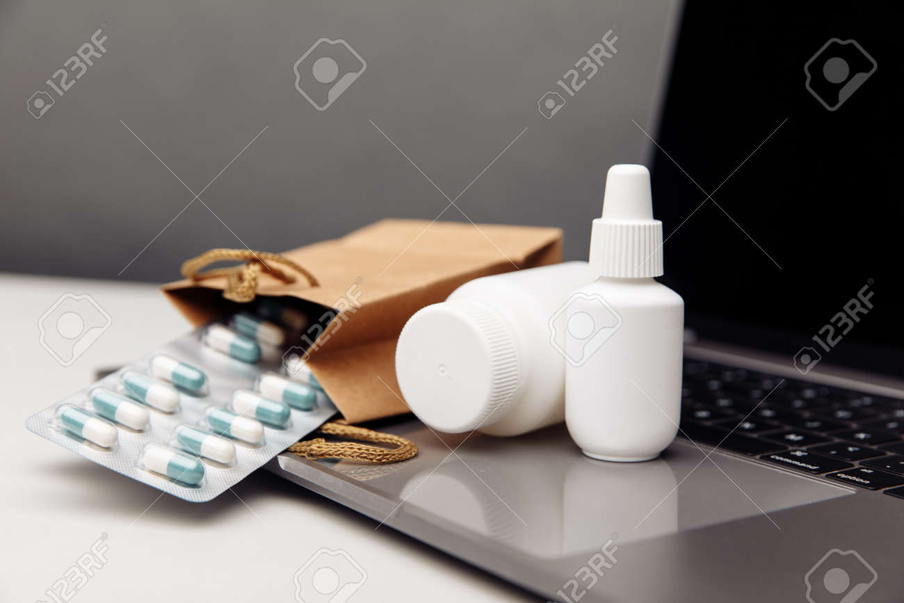 Online pharmacy. Prescription drugs and over the counter medication ready for delivery to customers - 169820262