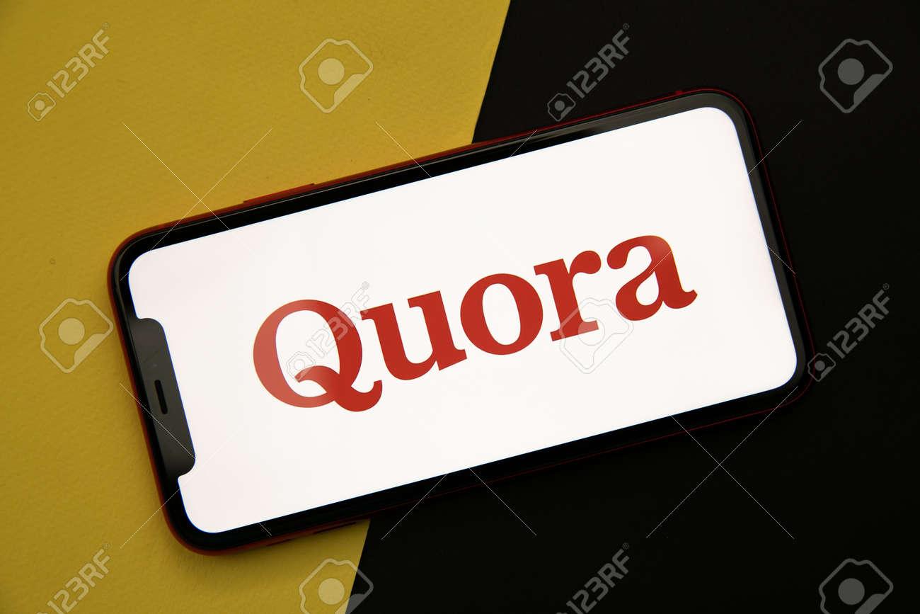 Tula, Russia - April 08, 2021: Quora logo on iPhone display - 172896628
