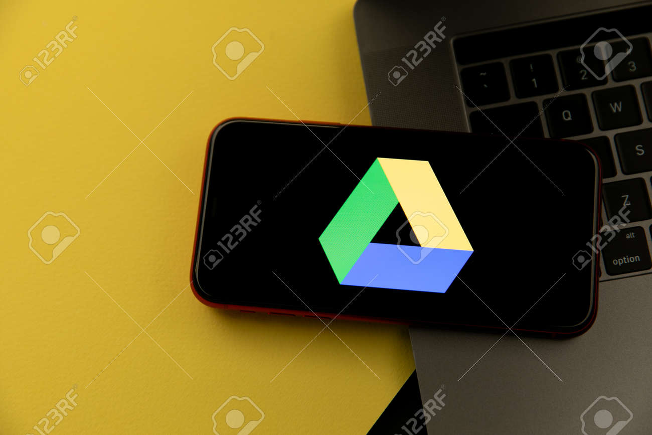 Tula, Russia - April 08, 2021: Google Drive logo on iPhone display - 172896619