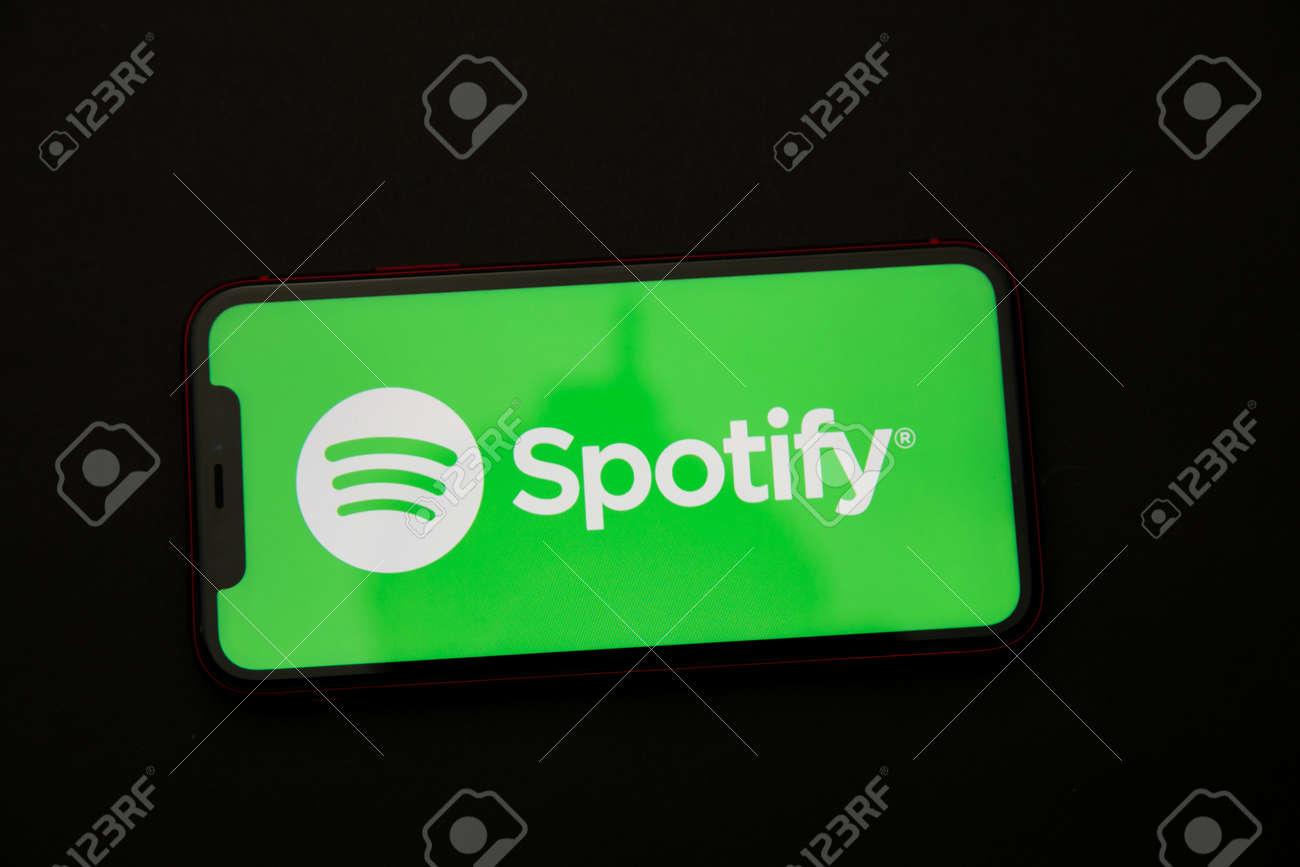 Tula, Russia - April 08, 2021: Spotify logo on iPhone display - 172896616