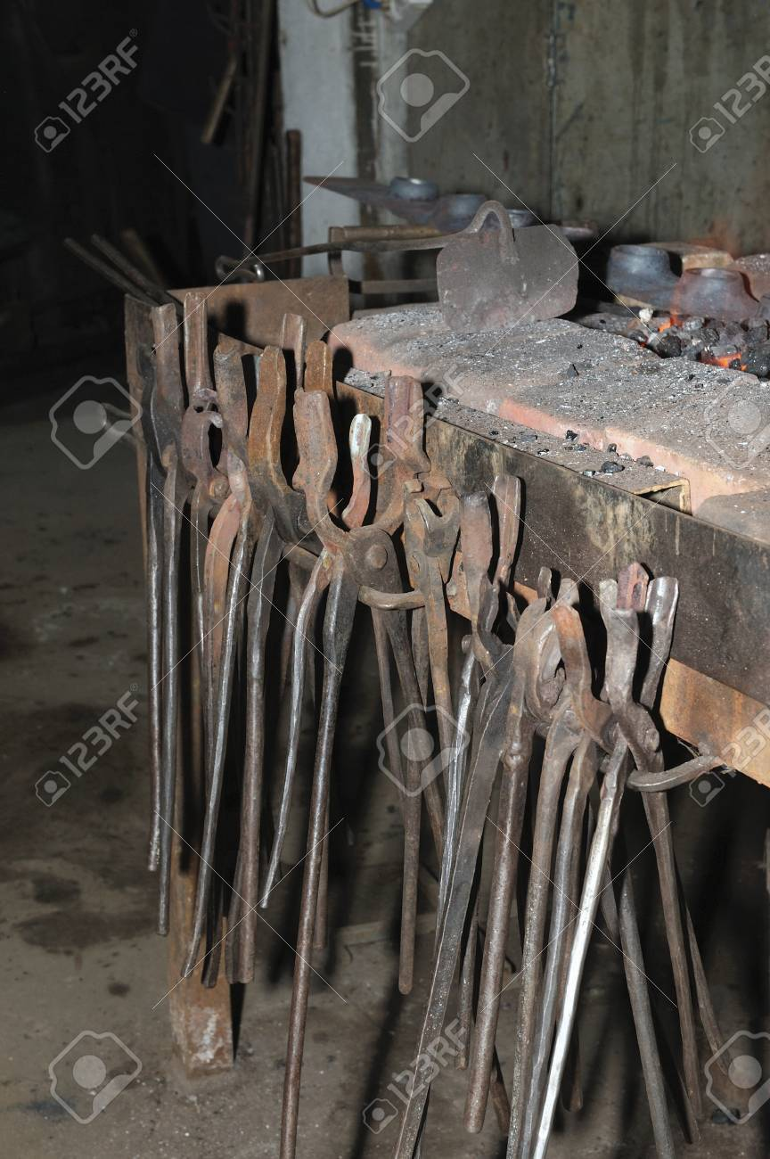 Old blacksmith tools in the manufactory
