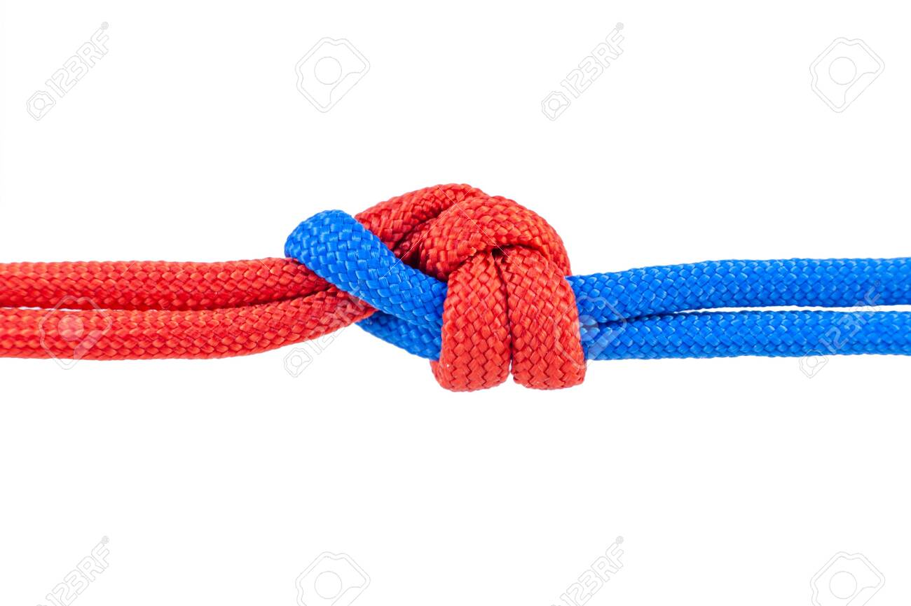 Two red and blue cords are connected . Knot on a cord isolated on a white background . - 144954317