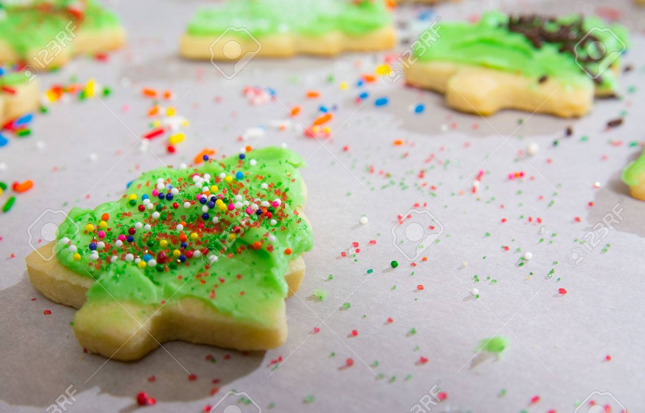 Christmas Tree Shaped Sugar Cookies With Frosting And Sprinkles