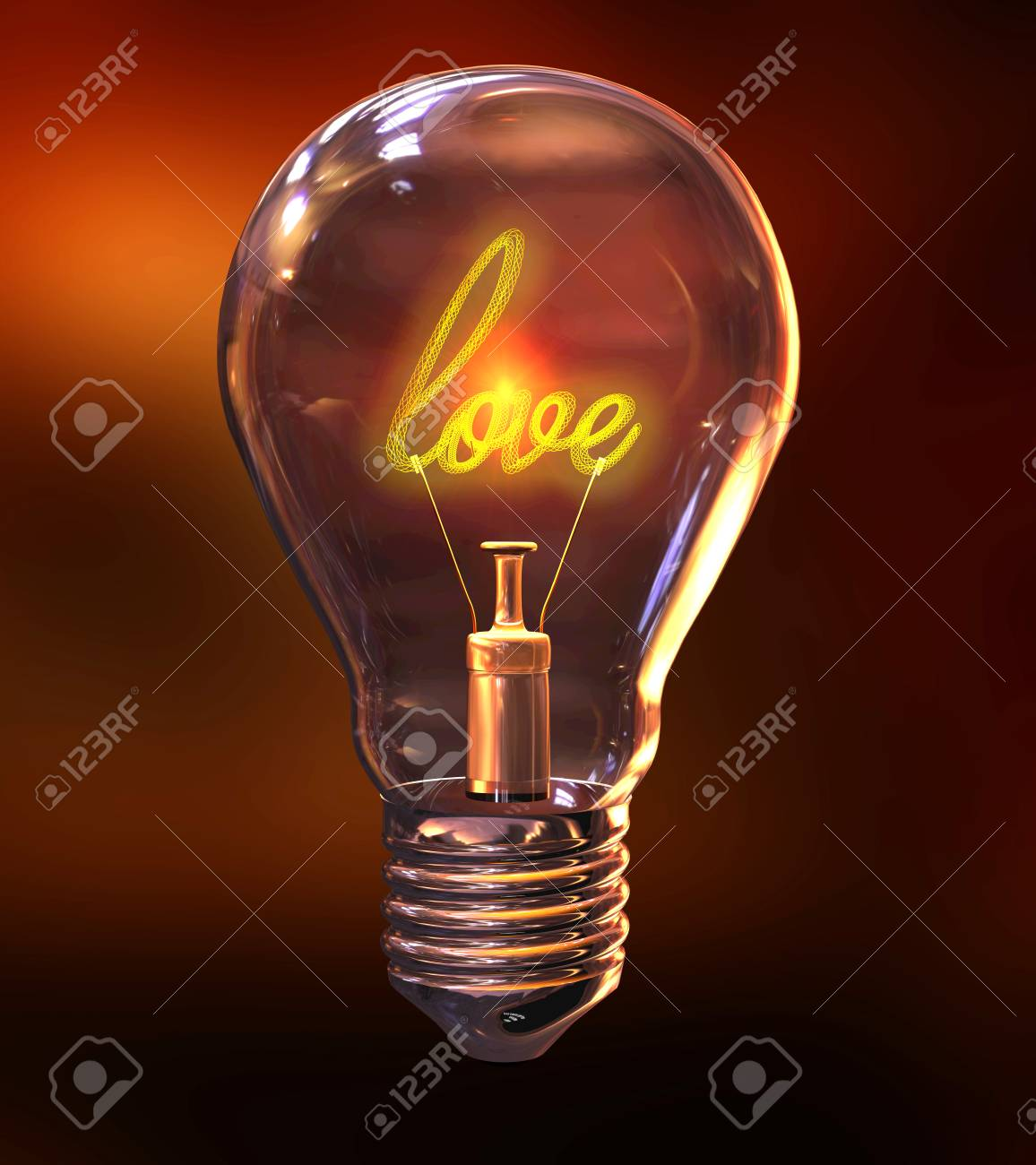 3d Illustration Of A Light Bulb With The Word Love As Filament