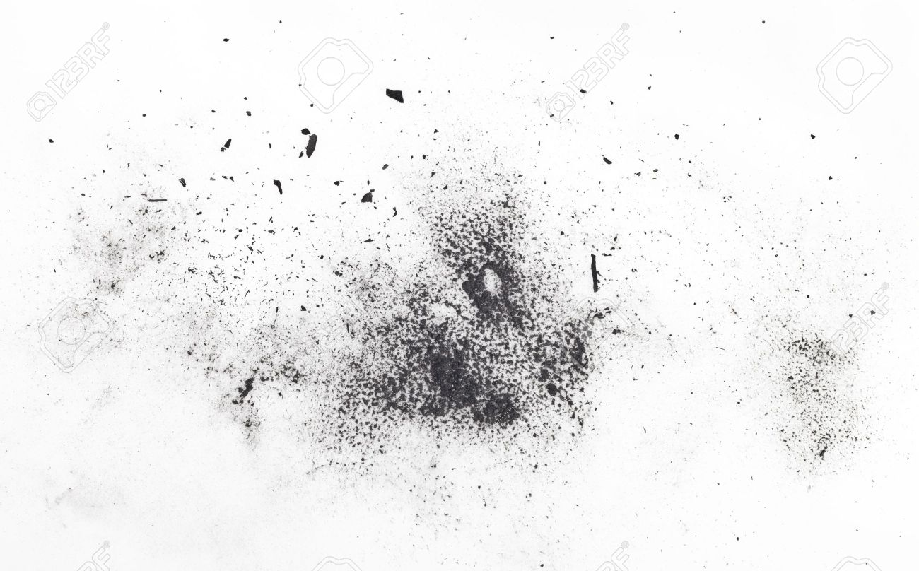 particles of charcoal on a white background. Placer cosmetics Stock Photo - 9584666