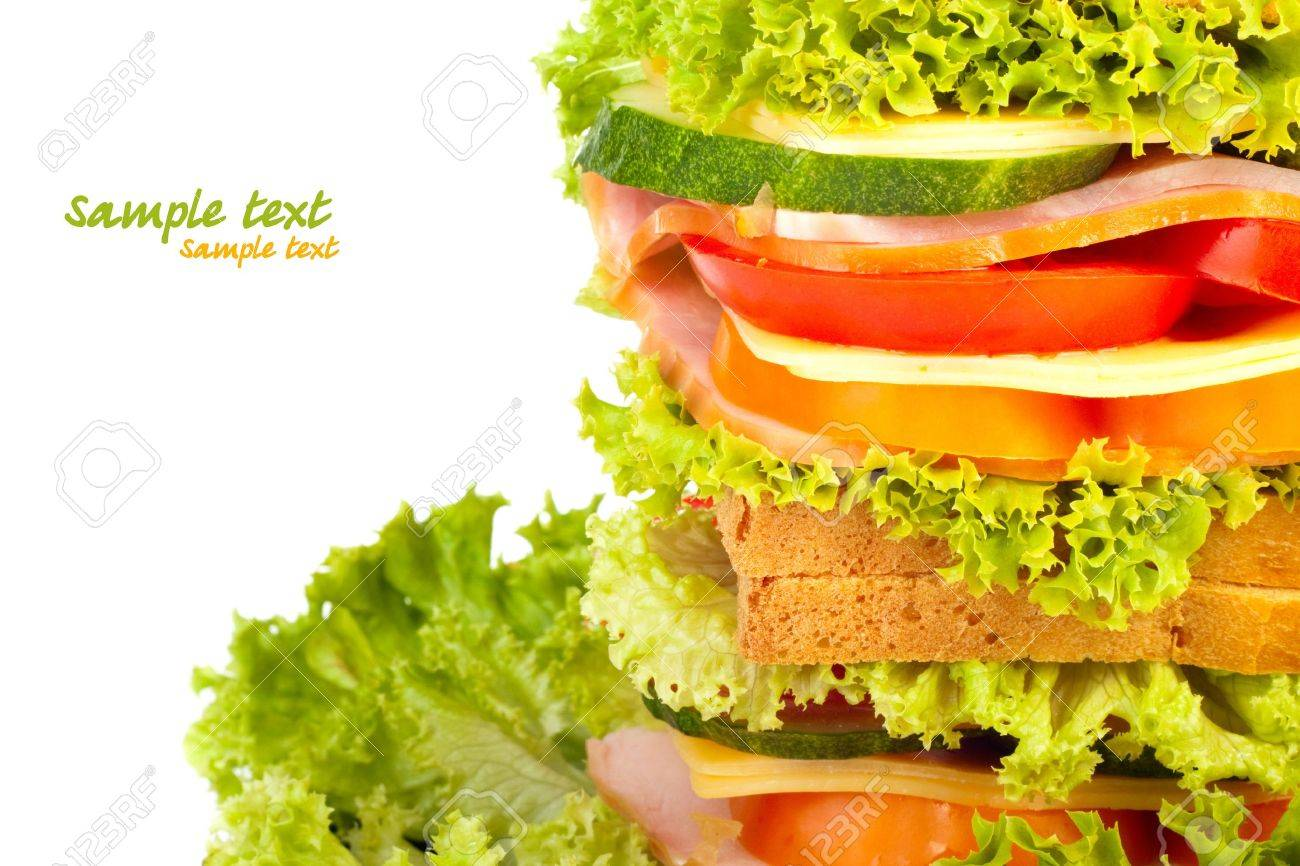 Healthy ham sandwich with cheese, tomatoes, pepper and lettuce Stock Photo - 9740578