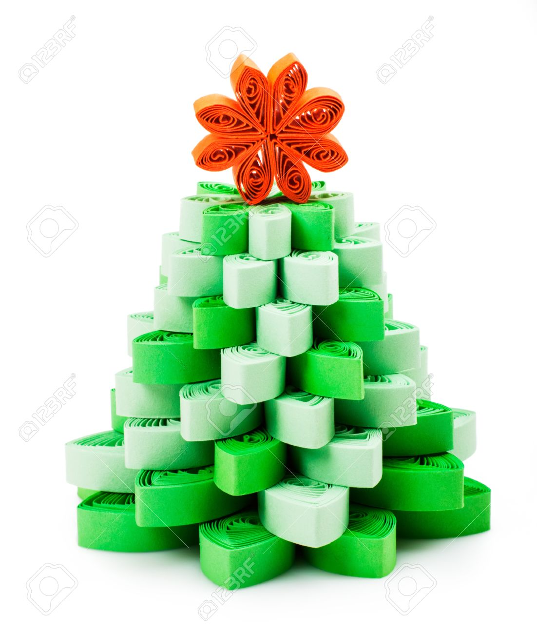 Christmas Tree Made âu20acu2039âu20acu2039of Paper Strips Stock Photo