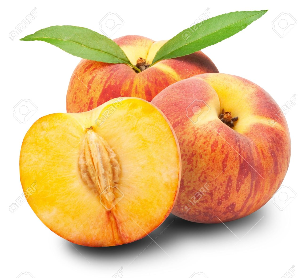 Ripe peach fruit with leaves and slises on white background - 16800703