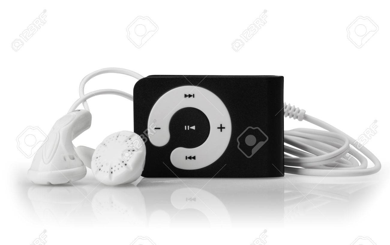 Modern MP3 player on a white background. Close up. - 17566356