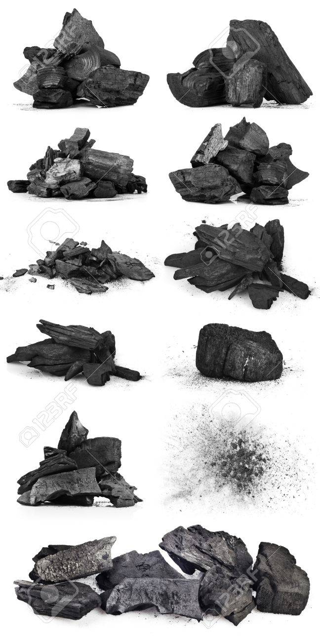 Piece of fractured wood coal isolated over white background - 18413008