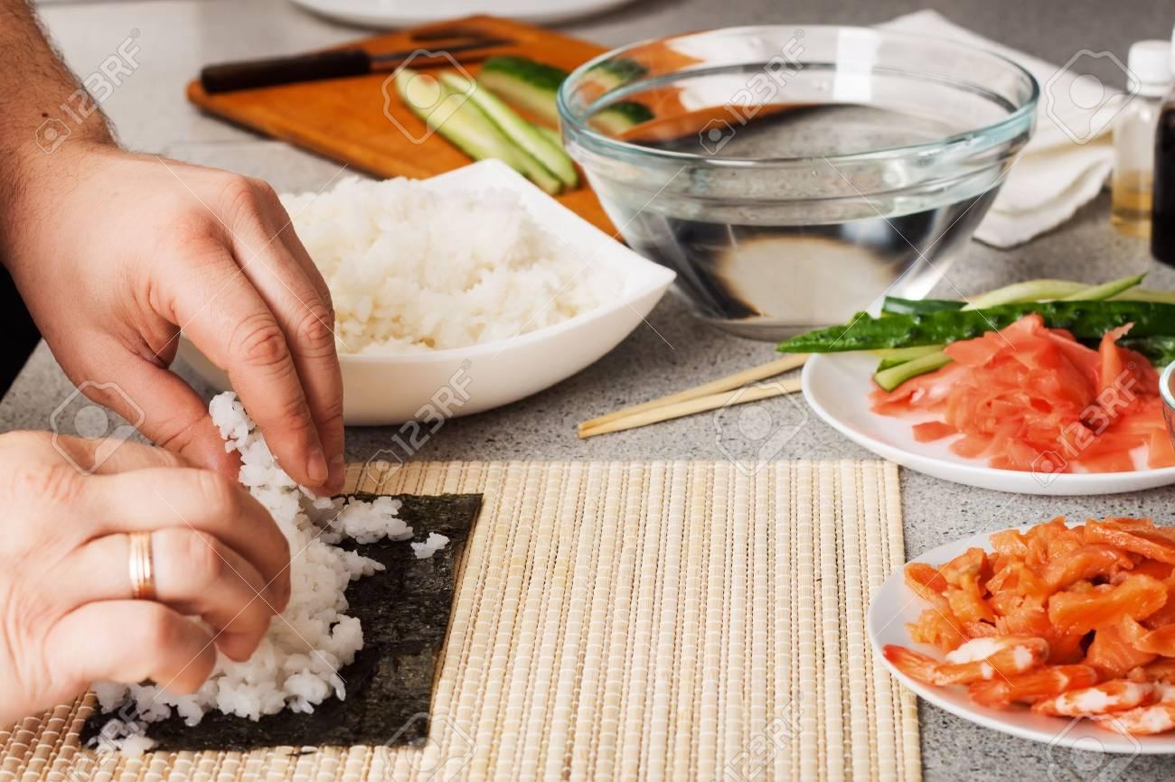 preparing sushi in the kitchen - 18601996