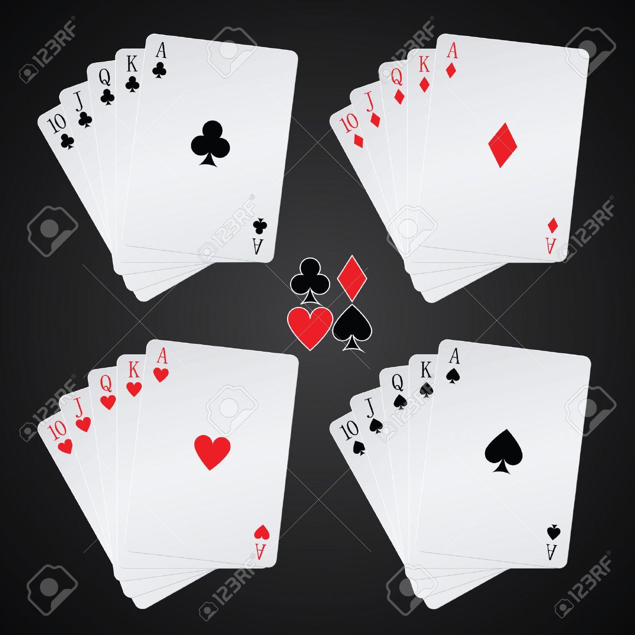 royal flush playing cards on black background - 22448648
