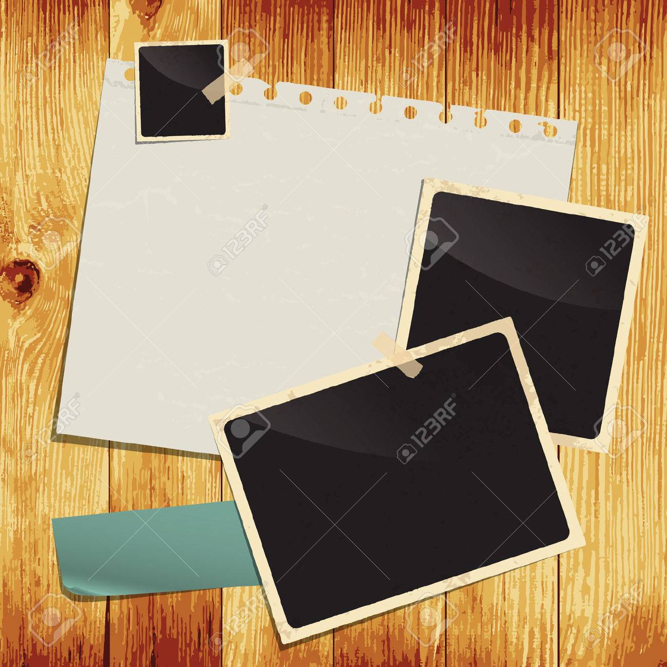 Empty white paper sheet and blank photo on wooden background. Image contains gradient mesh - 22698293