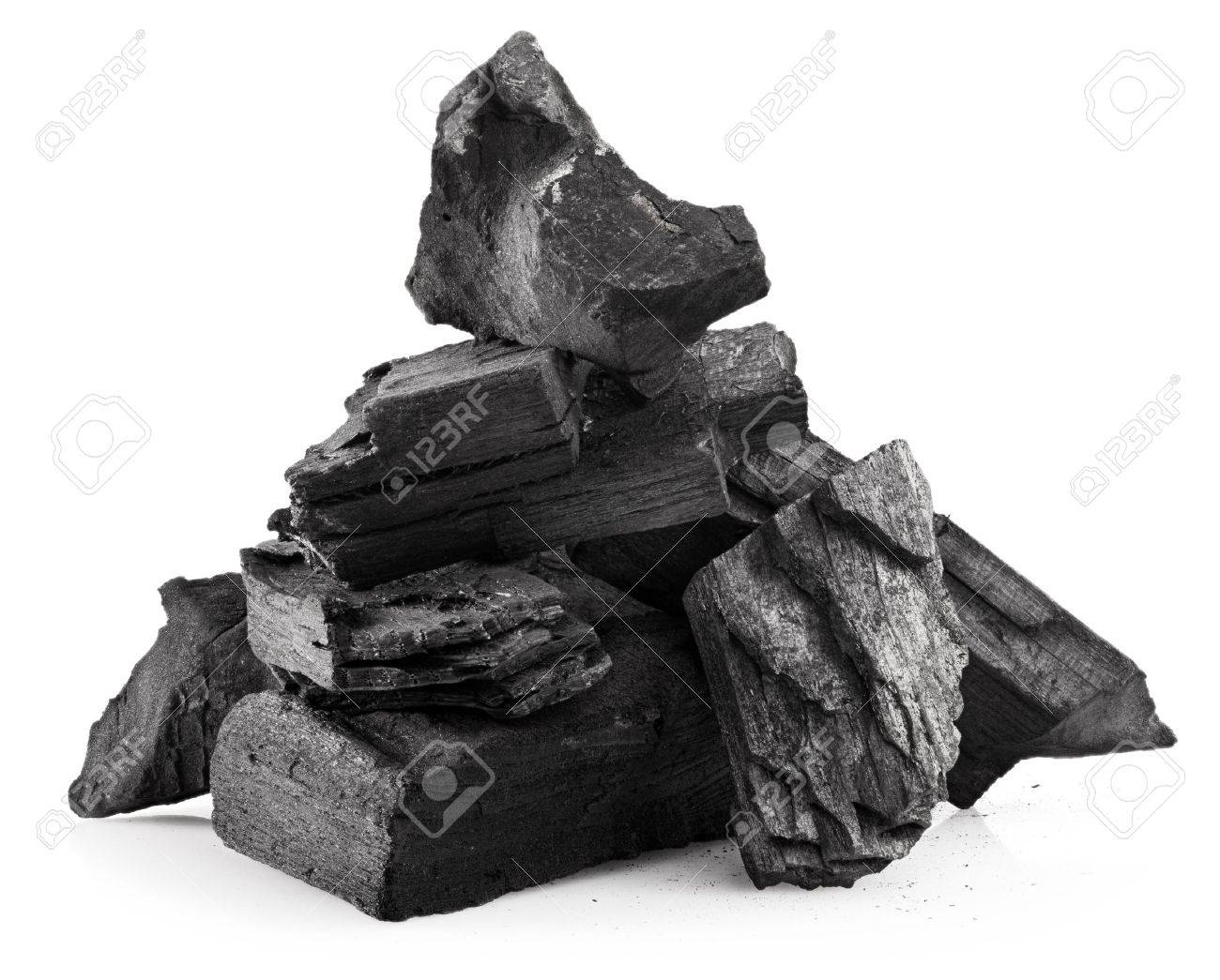 Piece of fractured wood coal isolated over white background - 29702743