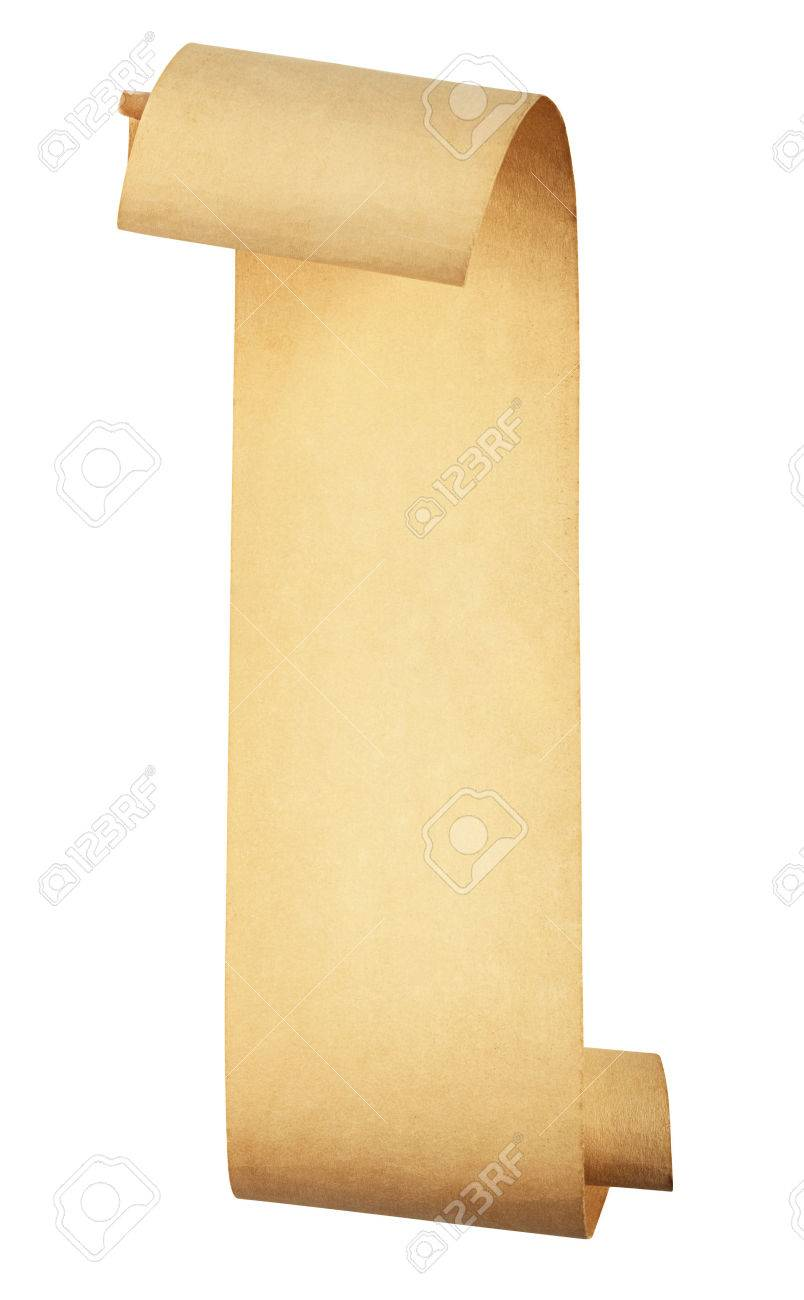 old scroll paper isolated on white background. Clipping Path - 29973507