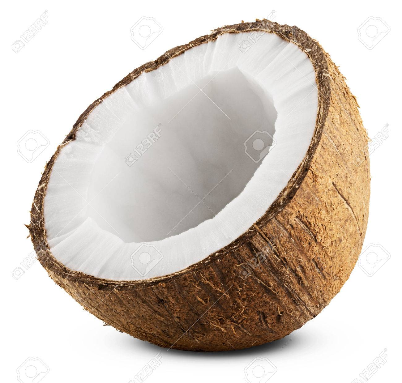 Half coconut isolated on white Background. Clipping Path - 33033784