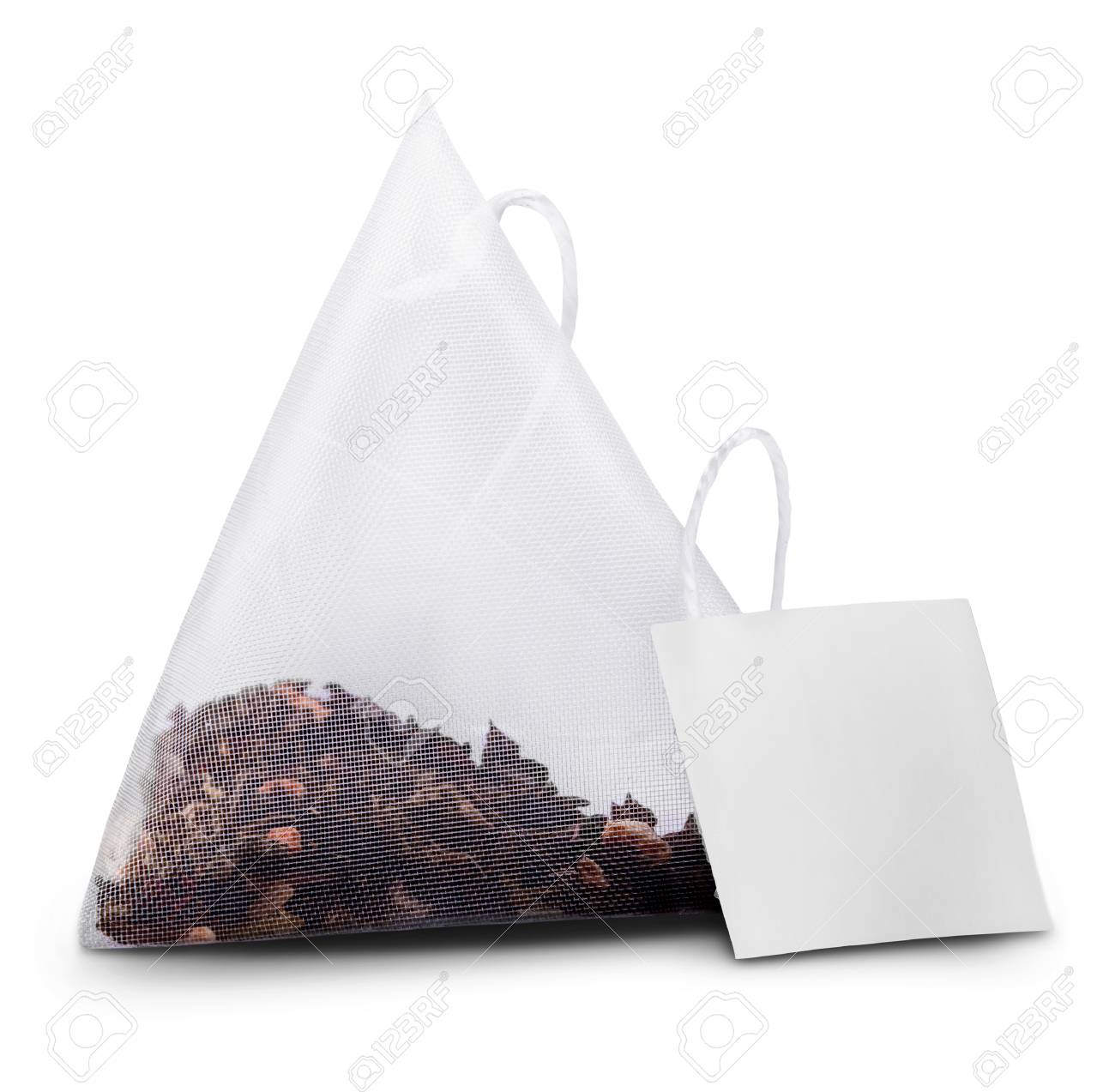 Teabag with label. Isolated on a white. Clipping Path - 33811407