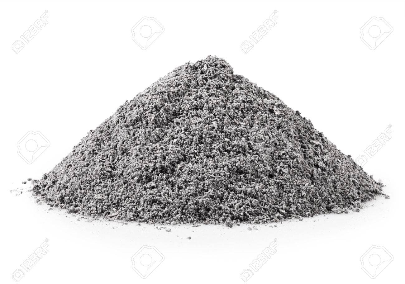 handful of gray ash on white background - 43761718