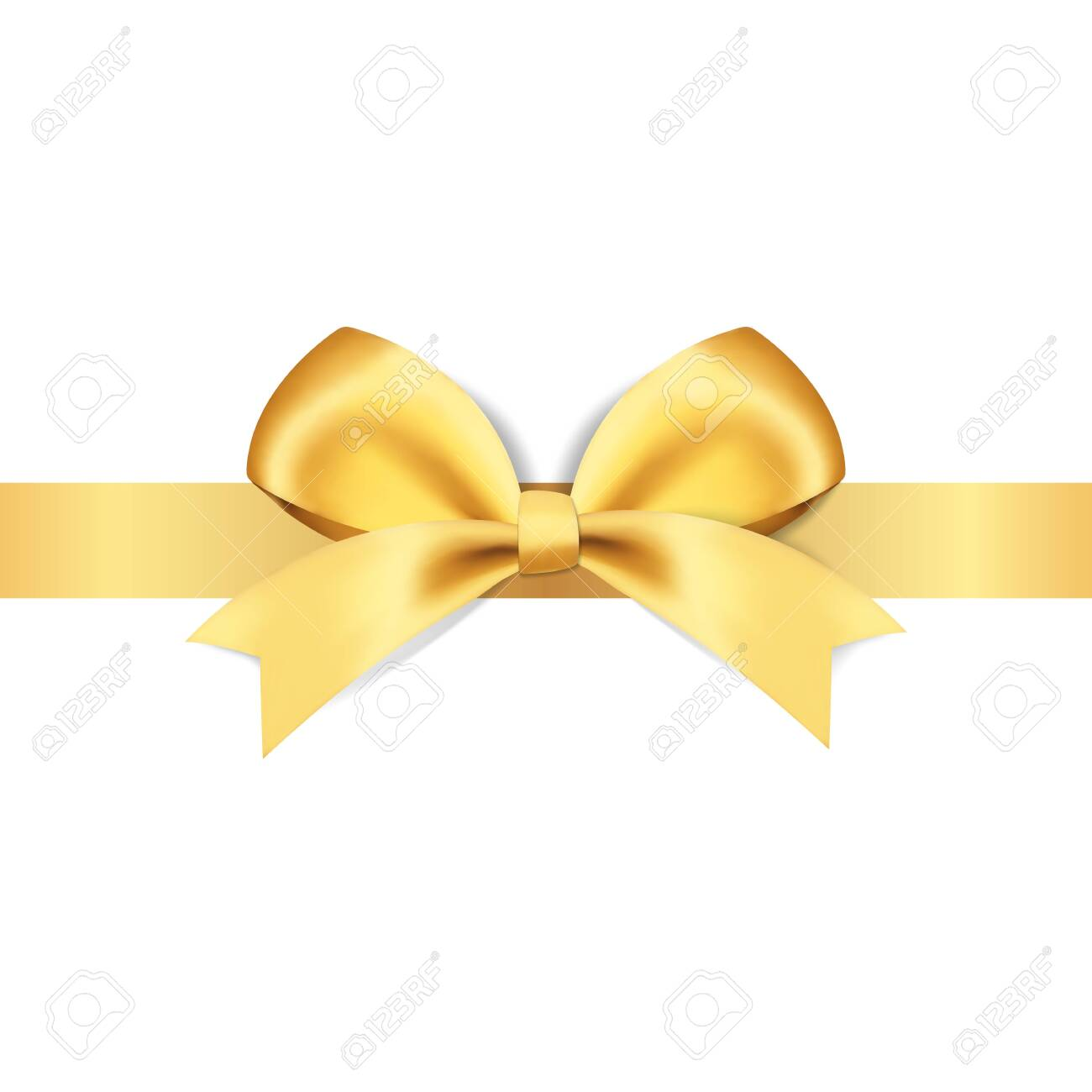 Decorative golden bows with yellow ribbon vector illustration - 148334707
