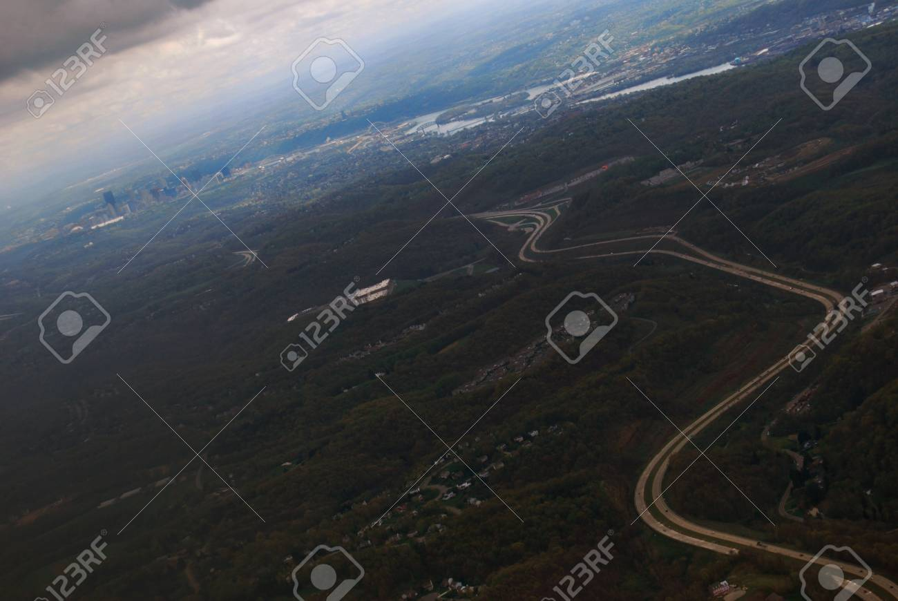 Aerial view of city of Pittsburgh and highway, horizontal Stock Photo - 21096226