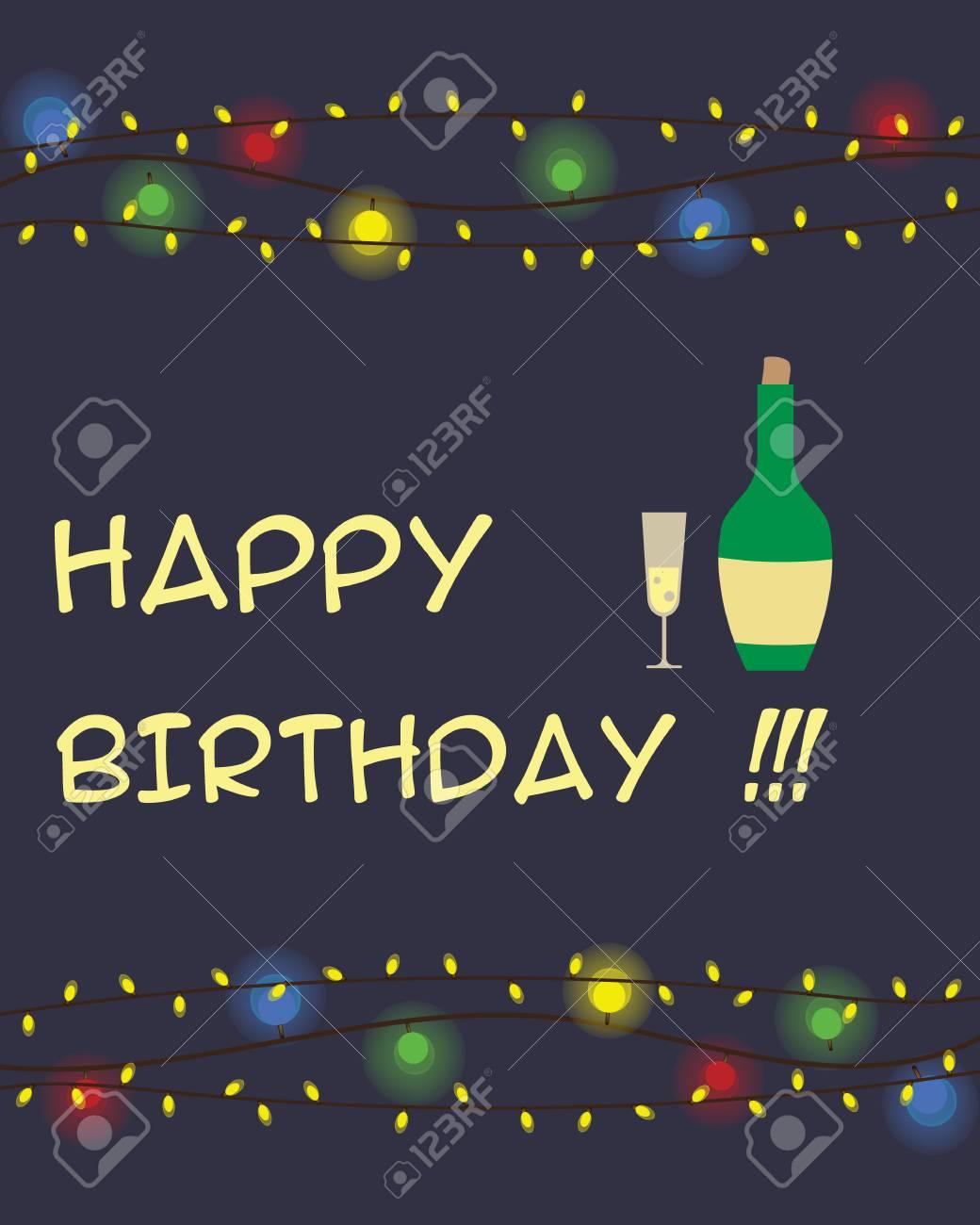 Happy birthday greeting card on the dark violet background with happy birthday greeting card on the dark violet background with bottle of champagne stock vector m4hsunfo