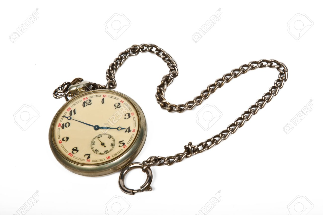 Vintage Pocket Watch With Chain Isolated On White Stock Photo ... 46fa278d4c03