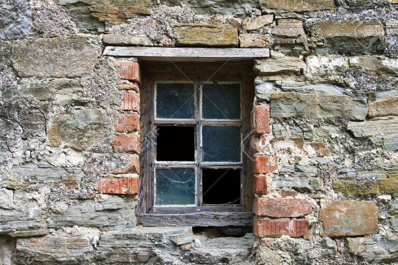 Old Wooden Window Frame With Broken Glass Stock Photo Picture And