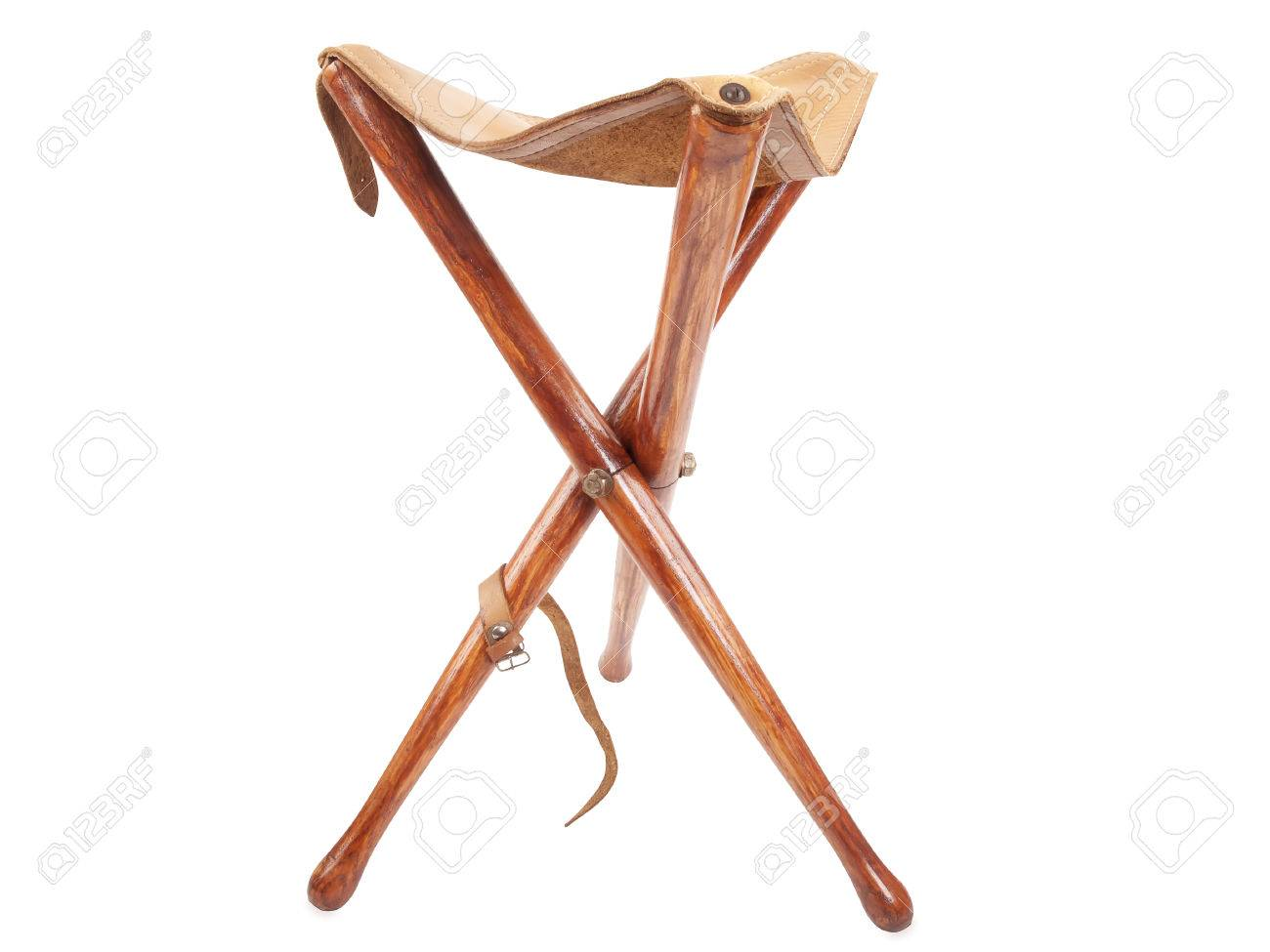 Stock Photo   Wooden Hunting Stool Isolated On White Background