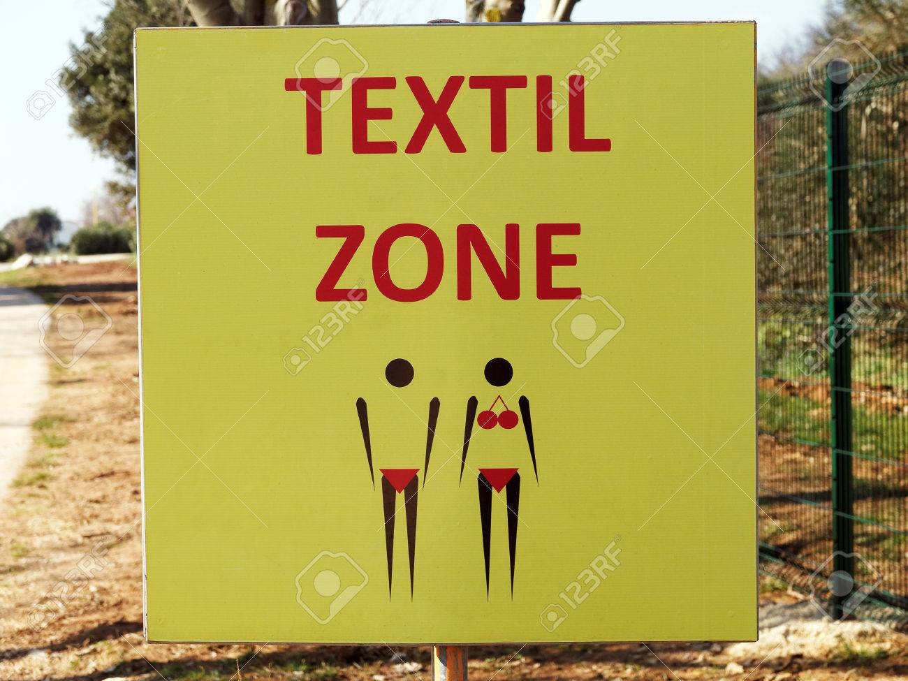 Nudist Zone textile zone - end of nude zone, Stock Photo - 37507930