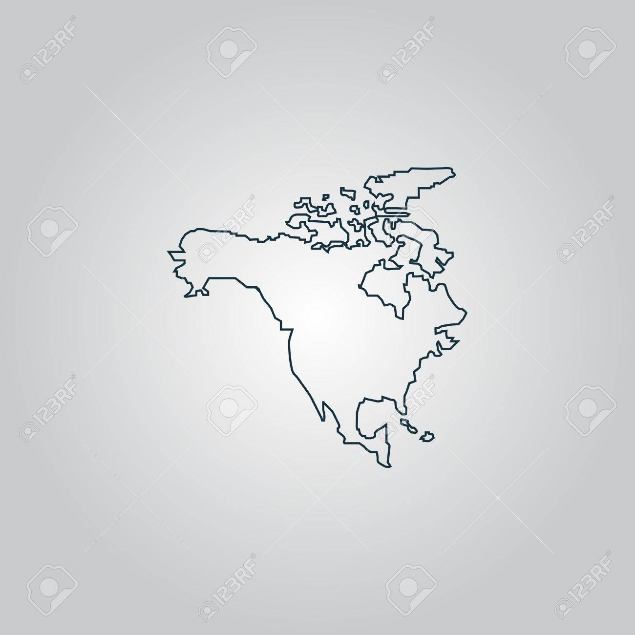 North America Map Flat Web Icon Sign Or Button Isolated On