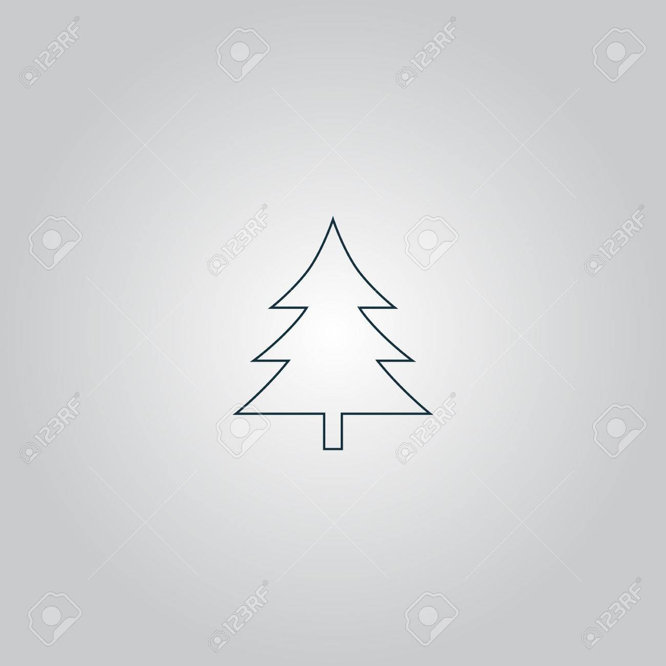Grey Christmas Tree Spruce Christmas Tree Flat Web Icon Or Sign Isolated On Grey